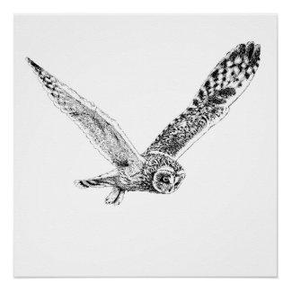 Flying Owl Illustration Poster Print