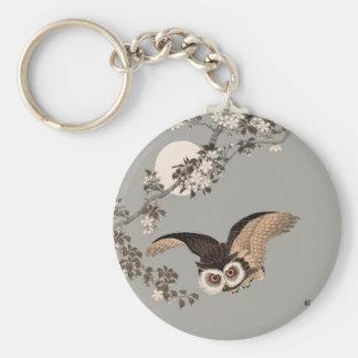 Flying Owl Japanese Print Art Vintage by Shōson Keychain