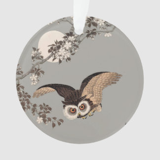 Flying Owl Japanese Print Art Vintage by Shōson Ornament