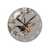 Flying Owl Japanese Print Art Vintage by Shōson Round Clock