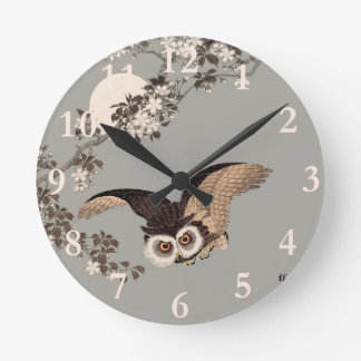 Flying Owl Japanese Print Art Vintage by Shōson Round Clock