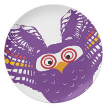Flying owl melamine plate