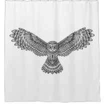Flying Owl Zendoodle Shower Curtain