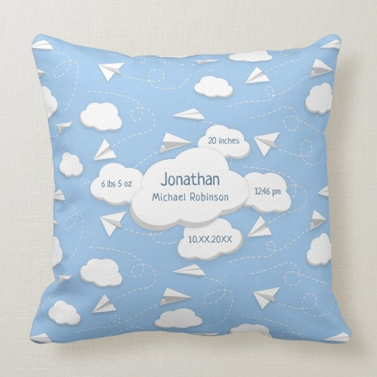 flying paper airplanes clouds baby birth stats throw pillow