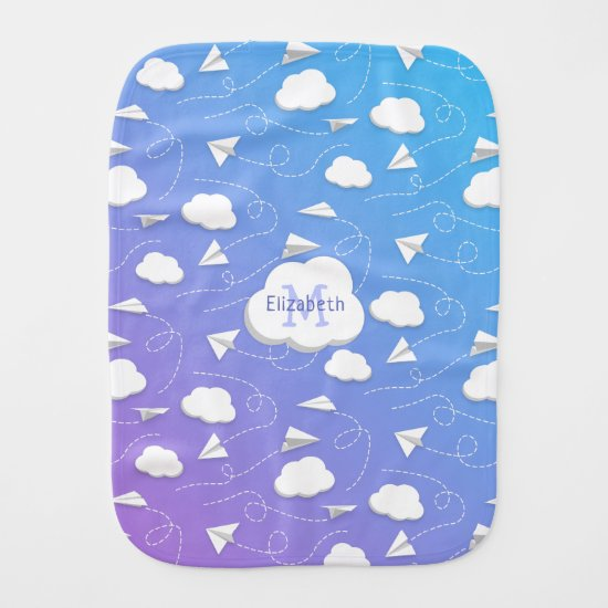 flying paper airplanes clouds girls monogrammed baby burp cloth