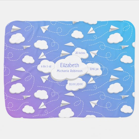 flying paper airplanes puffy clouds baby girl boy baby blanket