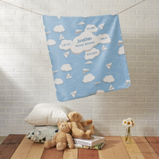 flying paper airplanes w puffy clouds ANY color Baby Blanket