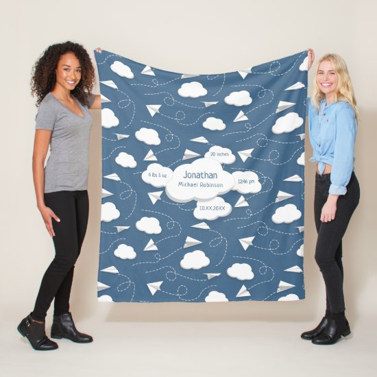 flying paper airplanes w puffy clouds slate blue fleece blanket