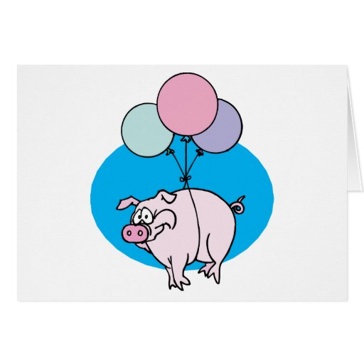 Flying Party Pig Card