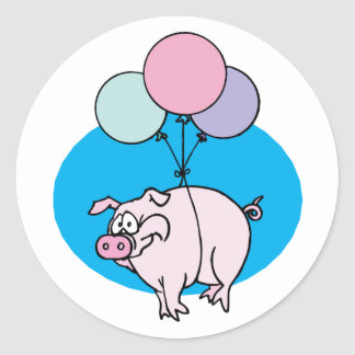 Flying Party Pig Classic Round Sticker