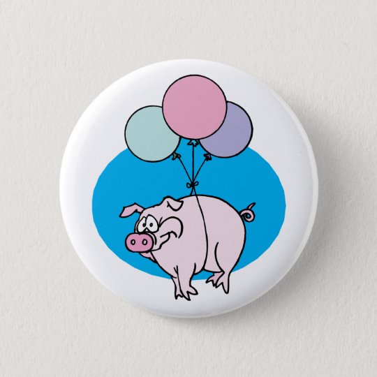 Flying Party Pig Pinback Button