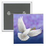 Flying Peace Dove 2 Inch Square Button