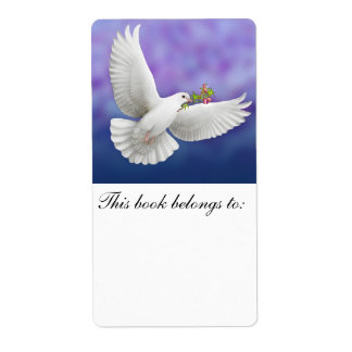 Flying Peace Dove Bookplate Custom Shipping Label