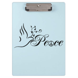 Flying Peace Dove Olive Branch Blue Background Clipboard