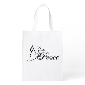 Flying Peace Dove Olive Branch Blue Background Grocery Bag