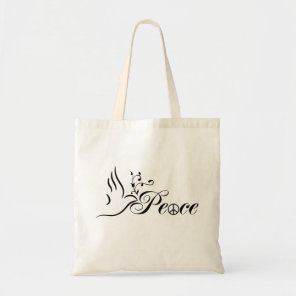 Flying Peace Dove Olive Branch Blue Background Tote Bag