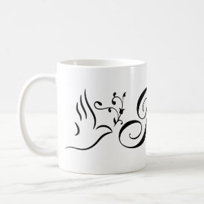 Flying Peace Dove Olive Branch White Background Coffee Mug