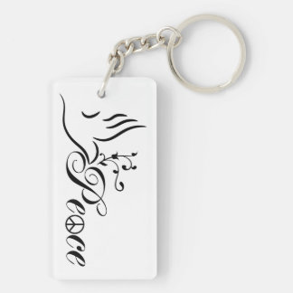 Flying Peace Dove Olive Branch White Background Keychain