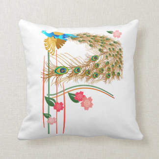 Flying Peacock And Cherry Blossoms Pillow