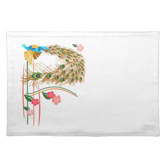 Flying Peacock And Cherry Blossoms Placemat