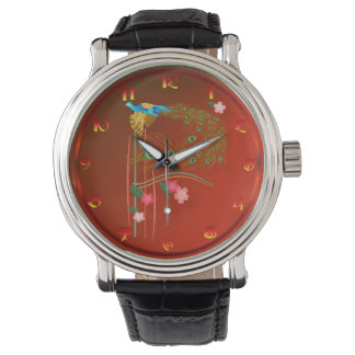 Flying Peacock and Cherry Blossoms Wrist Watch