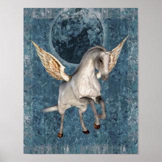 Flying Pegasus Blue Moon Fantasy Horse Poster