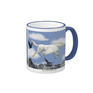 Flying Pegasus Eagle Mountains Fantasy Art Mugs