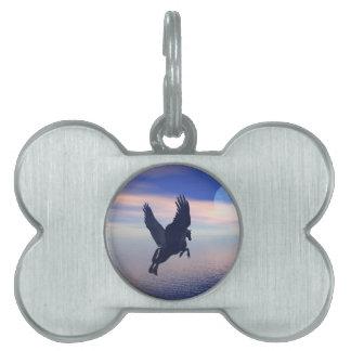 Flying Pegasus in Blue Sky Pet ID Tag