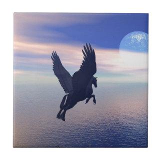 Flying Pegasus in Blue Sky Tile