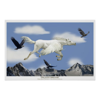 Flying Pegasus in the Eagle Mountains Fantasy Art Poster