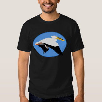 Flying Pelican in Blue Oval T Shirts