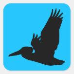 Flying Pelican Silhouette Sky Blue Sticker