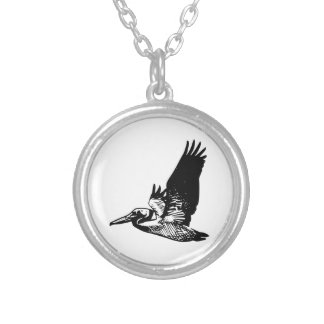 Flying Pelican Silver Plated Necklace