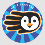 Hand shaped Flying Penguin Hand Classic Round Sticker