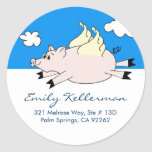 Flying Pig Address Labels Classic Round Sticker