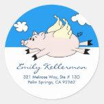 Flying Pig Address Labels Sticker