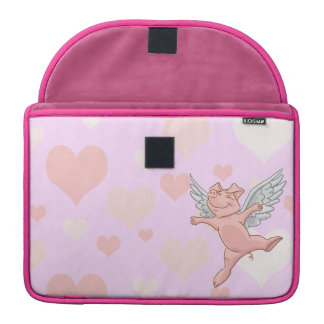 Flying Pig and Pink Hearts Sleeves For MacBook Pro