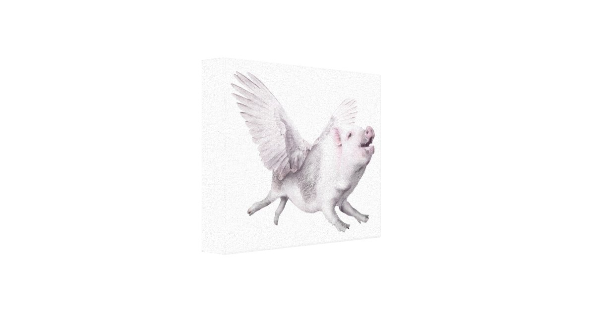 Flying Pig Art Canvas Real Wings When Pigs Fly Joy | Zazzle
