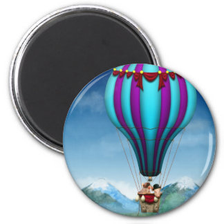 Flying Pig - Balloon - Up up and Away 2 Inch Round Magnet