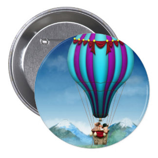 Flying Pig - Balloon - Up up and Away 3 Inch Round Button
