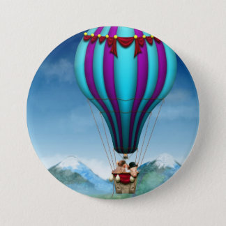 Flying Pig - Balloon - Up up and Away Pinback Button