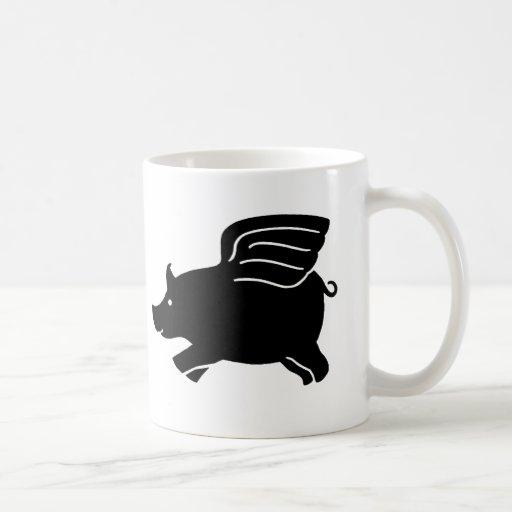 Flying Pig - Black Classic White Coffee Mug