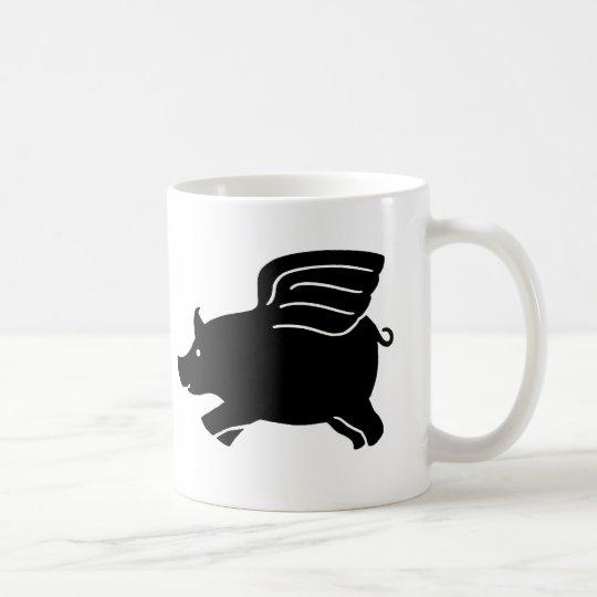 Flying Pig - Black Coffee Mug