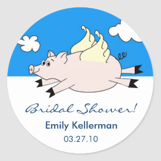 Flying Pig Bridal Shower Stickers