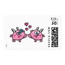 Flying pig bride and bride postage