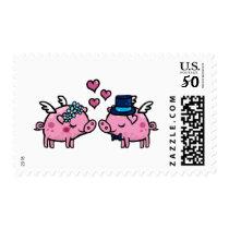 Flying pig bride and groom postage