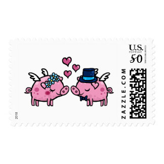 Flying pig bride and groom postage