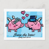 Flying Pig Bride and Groom save the date postcard