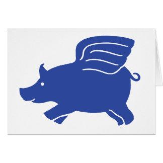 Flying Pig Card - Blue