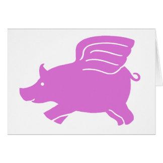 Flying Pig Card -  Pink